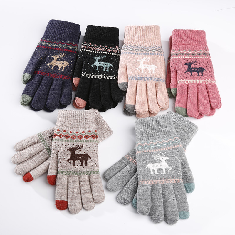 Knitted Touch Gloves Small Elk Women 's Autumn Winter Warm Wool Fleece-Lined Thick Full Finger Outdoor Riding Windproof Gloves