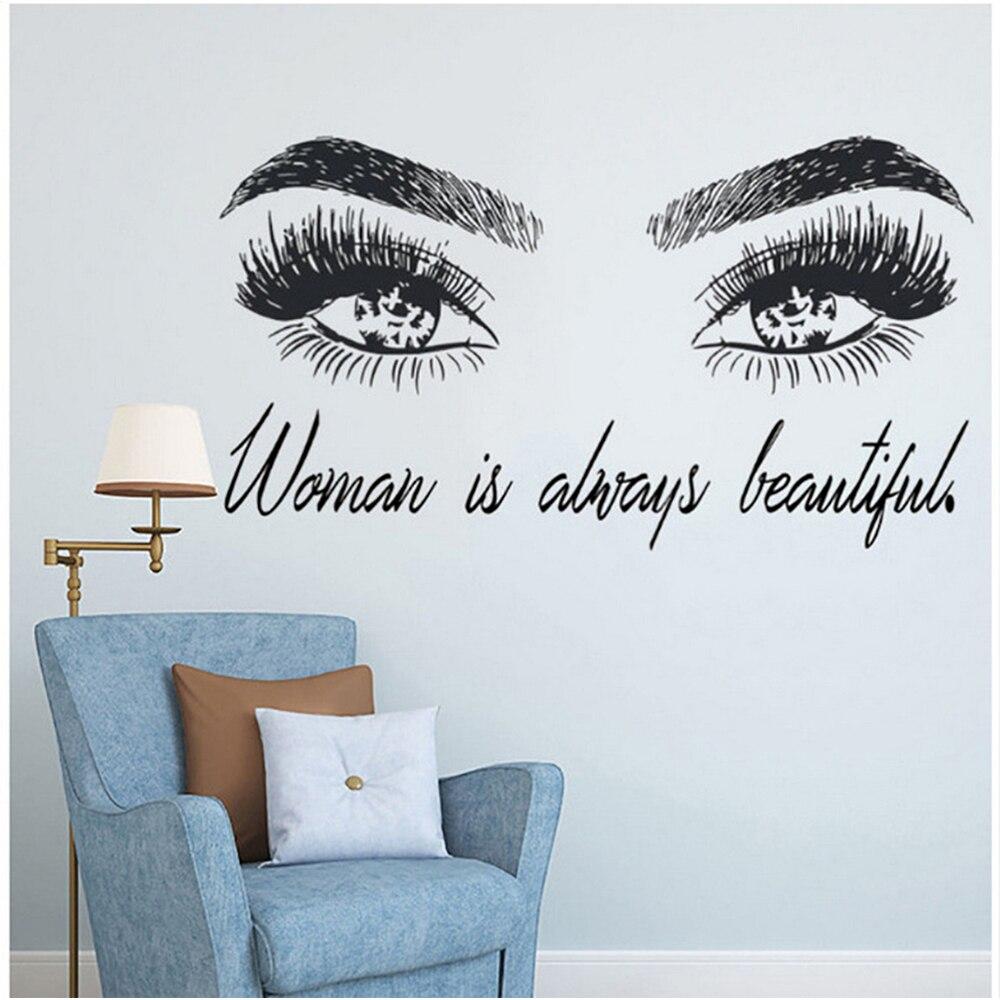 Купить наклейки на обои модные женские глаза настенные наклейки съемный