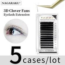 Nagaraku 5 casos marrom floração automática w forma bloom 3d pré-feito fãs extensões de cílios luz suave natural cílios individuais