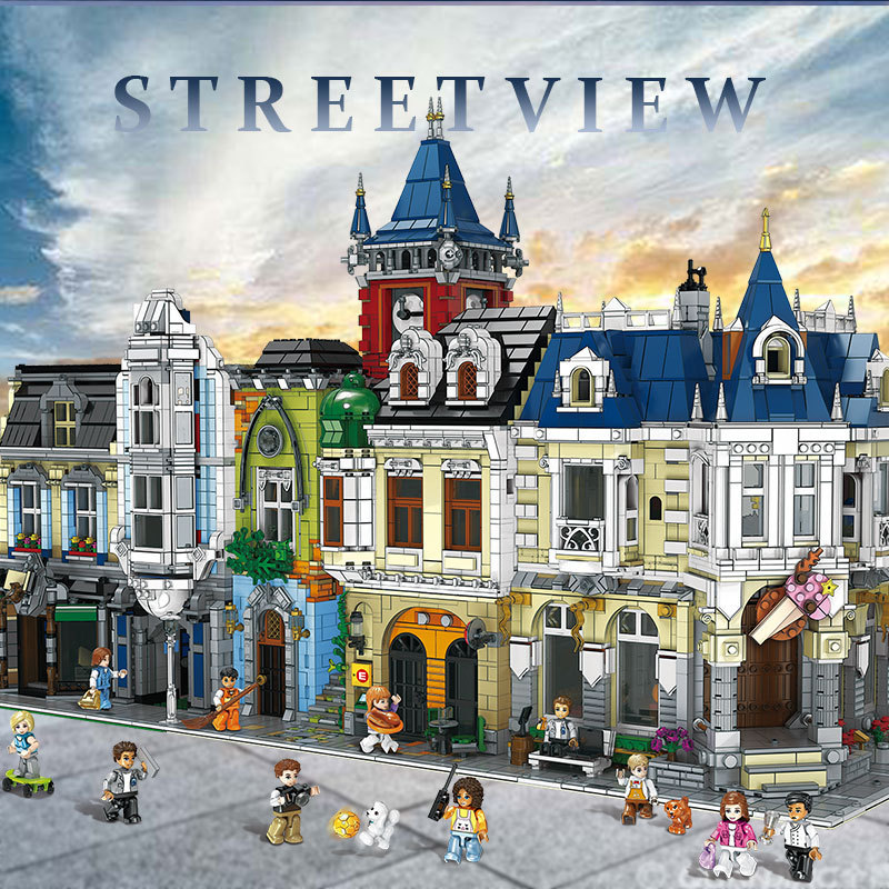 Zhegao Block QL0919-24 City Stree View Series Corner Mall Old Pub Building Block Architecture Model Brick Toy for Children image