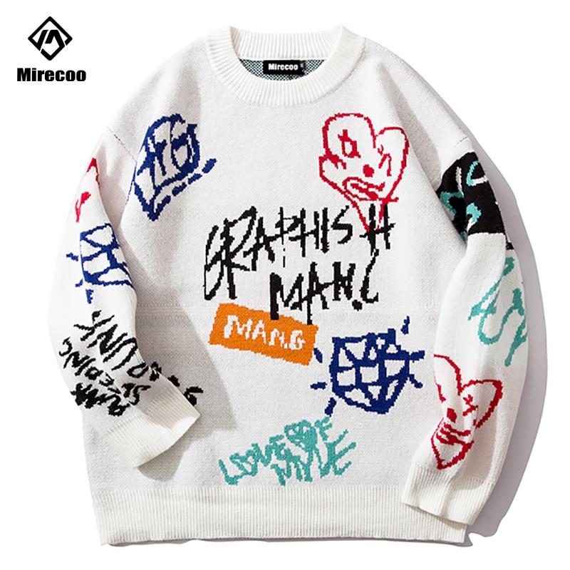 Mirecoo New Streetwear Men's Winter Warm Cotton Graffiti Pullover Jumper Sweater Tops Mens Fashion Streetwear Hip Hop Clothing