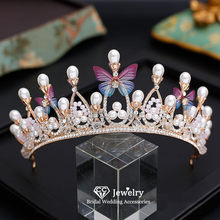 CC Tiaras and Crowns Hairband Hair Jewelry Engagement Wedding Accessories for Bridal Crown Butterfly Shape Fine Girls Gifts YQ16