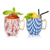 Moscow Mule Mugs Cup Stainless Steel Colorful with Brass Handle Solid Handcrafted 16oz Gift for Christmas and Cocktails Drinks