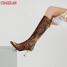 CDAXILAN new arrivals knee-high boots womens velvet Leopard fabric  super high heels pointed side zipper boot dancing parties