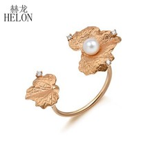 HELON Natural Pearl Ring Genuine 14K Rose Gold Ring White Freshwater Pearl Ring Classic Fine Jewelry Gift For Women(China)