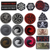 Wolf Embroidered Patches Reflective Compass Tactical Military Patch Viking Rubber Biker Embroidery Badges For Clothing Backpack