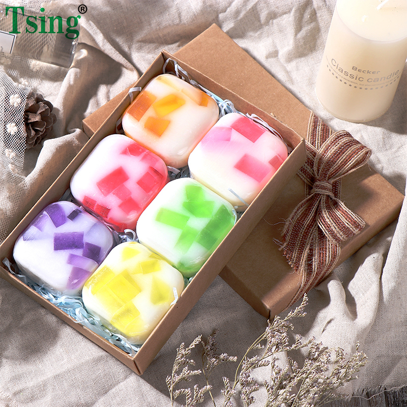 Tsing  6X100g Handmade Soap  Essential Oil Lavender  Rose  Moisturizing Nourishing SPA Scented Soap Face Soap Christmas Gift Set