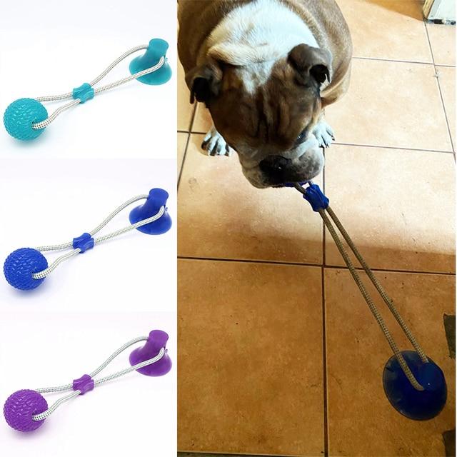 Brinquedos para cães de estimação filhote de cachorro interativo ventosa empurrar tpr bola brinquedos molar mordida brinquedo cordas elásticas limpeza do dente do cão suprimentos de mastigação 3