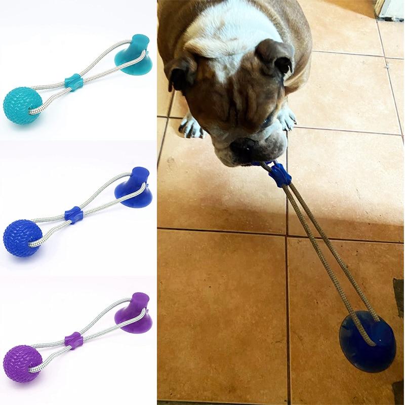 Собака Интерактивная присоска Push TPR мяч игрушки животные моляр кусание игрушка эластичная веревка для чистки зубов собаки жевательные питомцы щенок собака игрушки-2