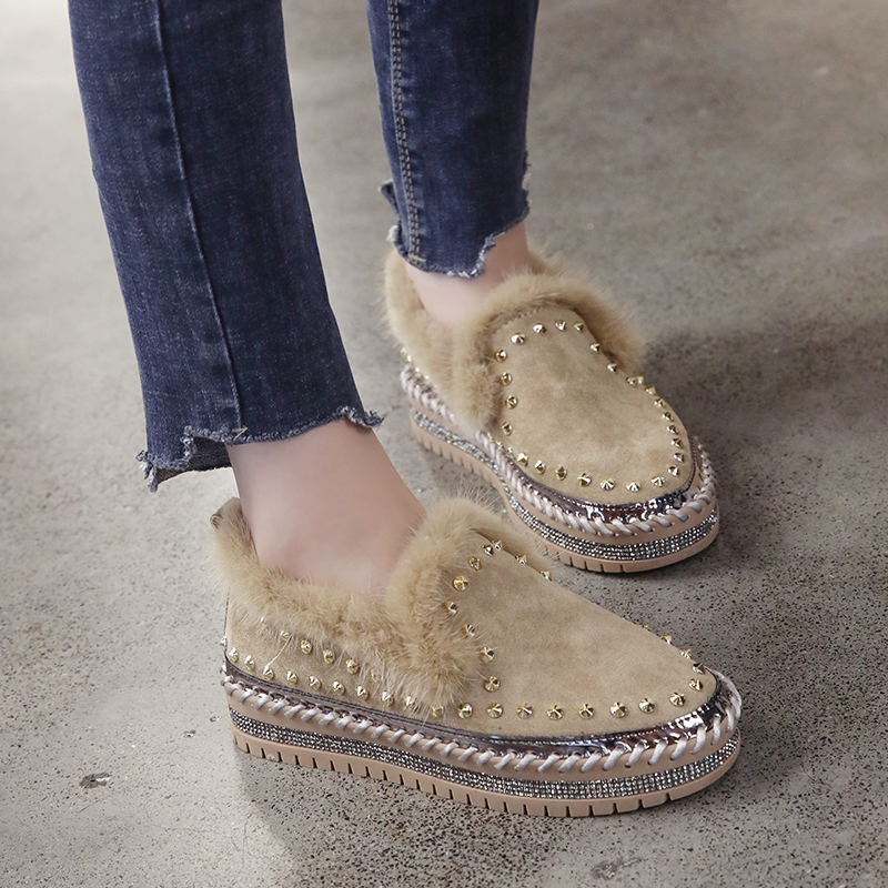 2019 Winter New Women Fur Loafers Comfortable Casual Platform Sneakers 53