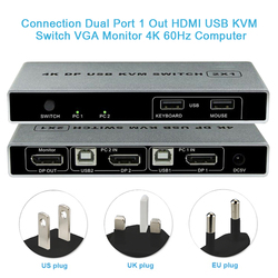 Computer Monitor Dual Poort Muis Ondersteuning Displayport Controller 4K 60Hz Hdmi Usb Plug En Play Kvm Switch Verbinding vga Stabiele