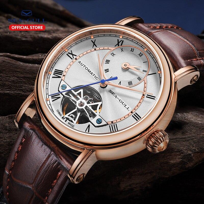 Image 5 - SEA GULL Business Watches Mens Mechanical Wristwatches Week Calendar 50m Waterproof Leather Valentine Male Watches 819.11.6041Mechanical Watches   -