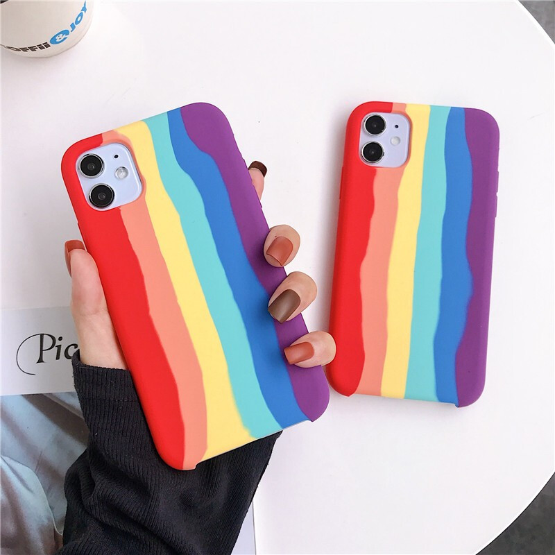 Personalized Rainbow Liquid Silicone Protection Case For iPhone 11 Pro MAX X XS MAX XR Gel Rubber For 6 7 8 Plus SE 2020 Cover