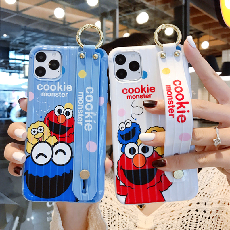 Cute Sesame Street Cookie Monster Wrist Stand Holder Soft Silicon Phone Case For Iphone 6 7 8 Plus X XR XS 11PRO MAX Cover Couqe