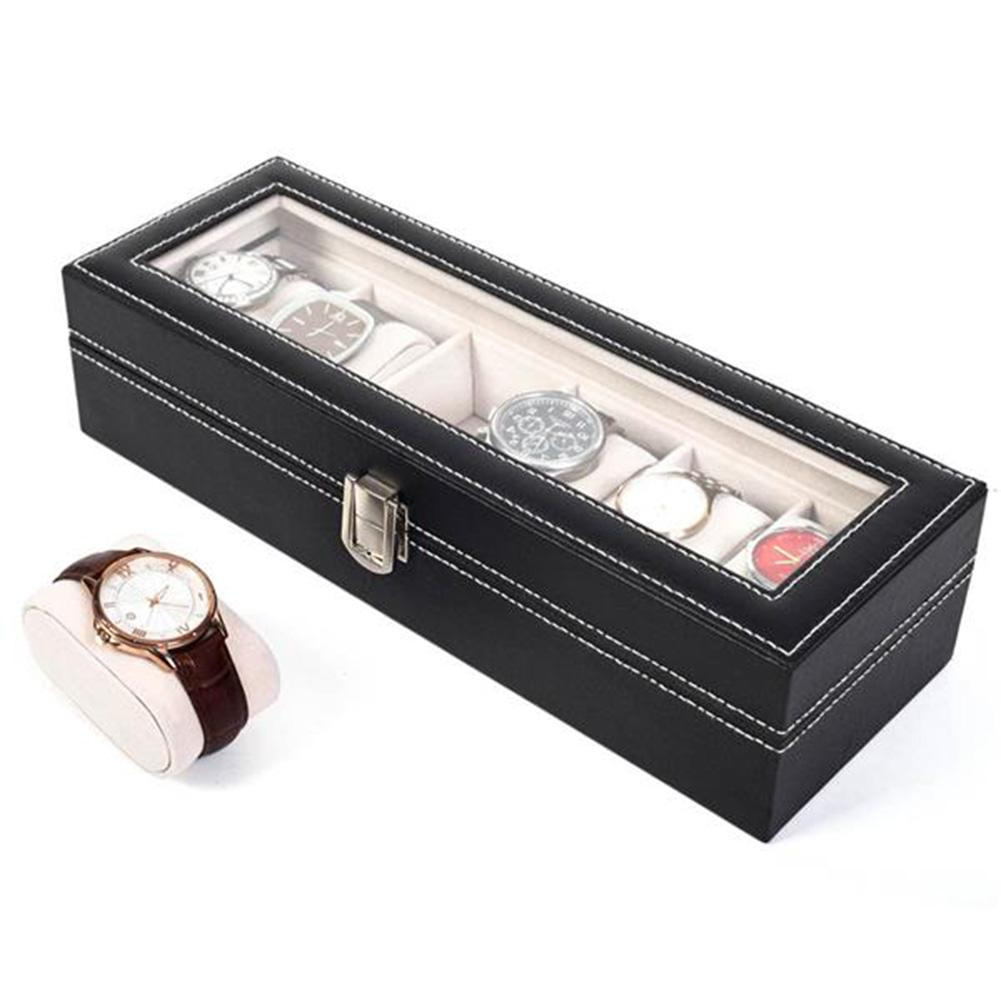 6Grid High-grade Leather Watch Box Storage Organizer Box Luxury Jewelry Ring Display Watch Case Black Display Case Box Free Ship