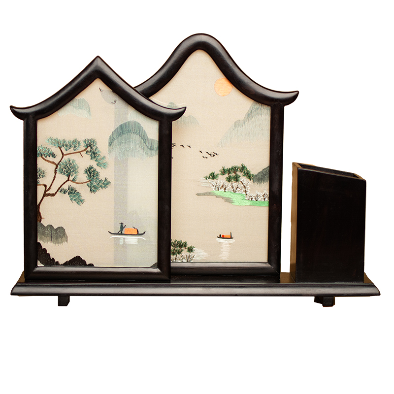 Chinese Gift Items for Home Decoration Ornaments Office Accessories Decor Pen Case Hand Embroidery Works with Ebony Wood Frame