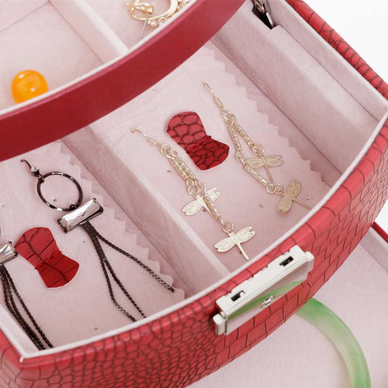 De caja de joyería de 3 capas de joyería joya Paquete de almacenamiento para la celebración de anillo, collar, pulsera, pendiente regalo del Festival