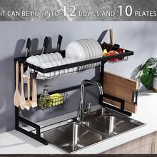 Negro/Blanco 65/85cm estante de acero inoxidable para platos en forma de U rejilla para escurrir para fregadero dos capas organizador de cocina estante de almacenamiento