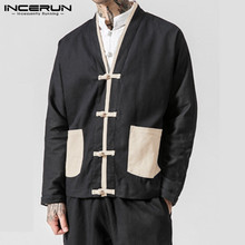 INCERUN Retro Men Jackets V Neck Long Sleeve Pockets Button Cotton Coats Patchwo