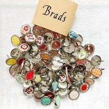 50Pcs 15MM Mix Pattern Epoxy Brads Scrapbooking Material Metal Round Stud Embellishment DIY Crafts Journal Album Decoration Pin
