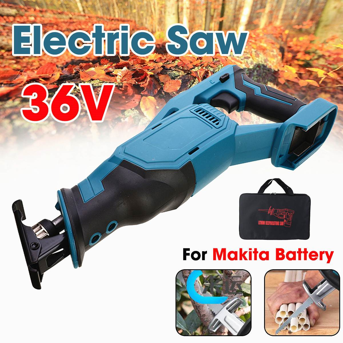Cordless Electric Reciprocating Saw Electric Saw Woodworking Metal Cutting Electric Saw Power Tool for Makita Battery 36V