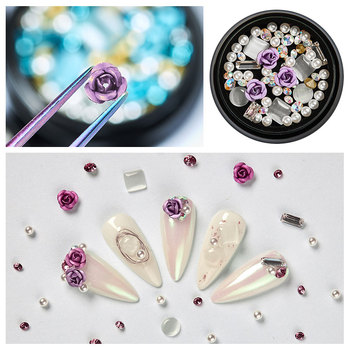 1 Box 3D Rhinestones Charming Mix Nail Art Decoration Rose Jewelry Gel Glitter Nail Art Decor Manicure image