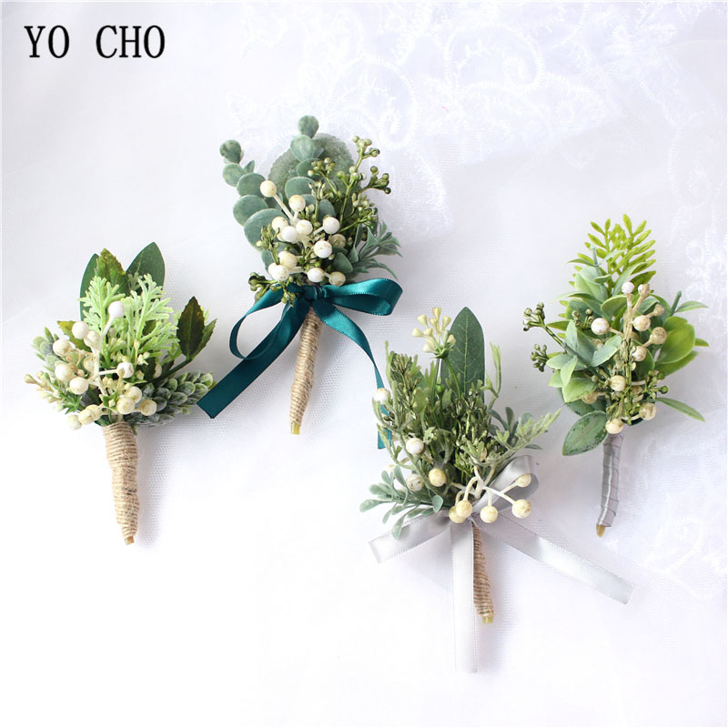 YO CHO Artificial Eucalyptus Plant Leaf Pine Needle Boutonniere Groom Corsages White Green Berries Forest Style Wedding Supplies