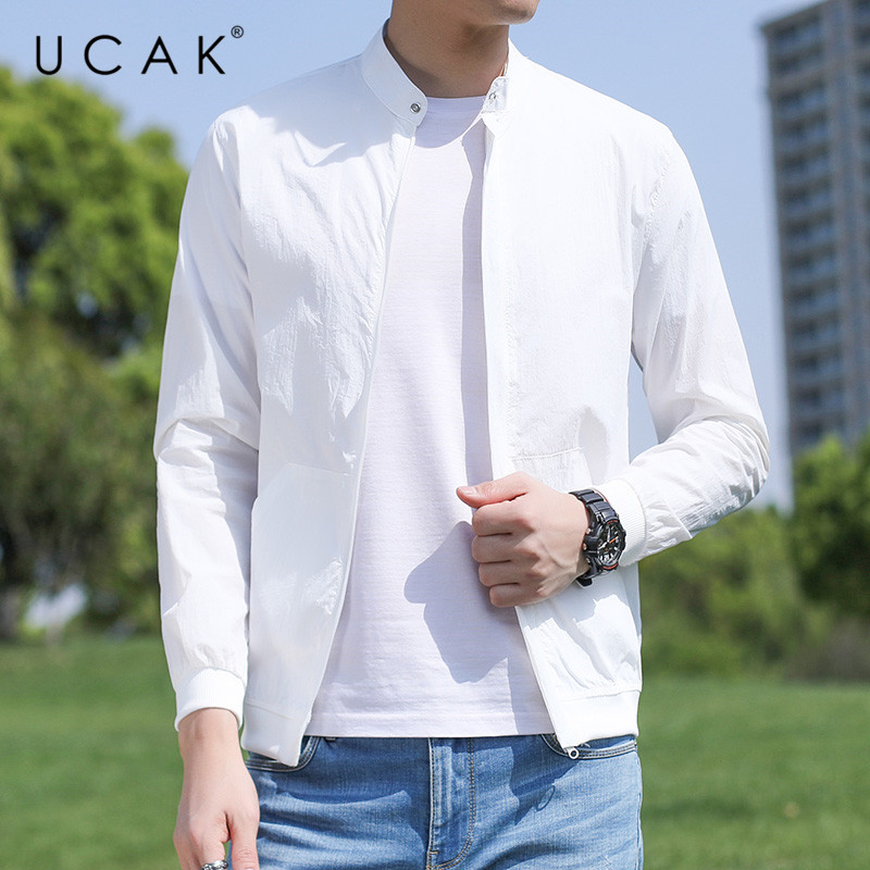UCAK Brand Prevent Bask In Clothes Men Thin And Light Solid Color Jackets Streetwear Outwear Breathable Zipper Jackets U8088