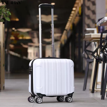 Rolling Luggage 18'' Cabin luggage ABS Trolley suitcase on wheels kid's Carry on suitcase set for student's Trolley bag fashion