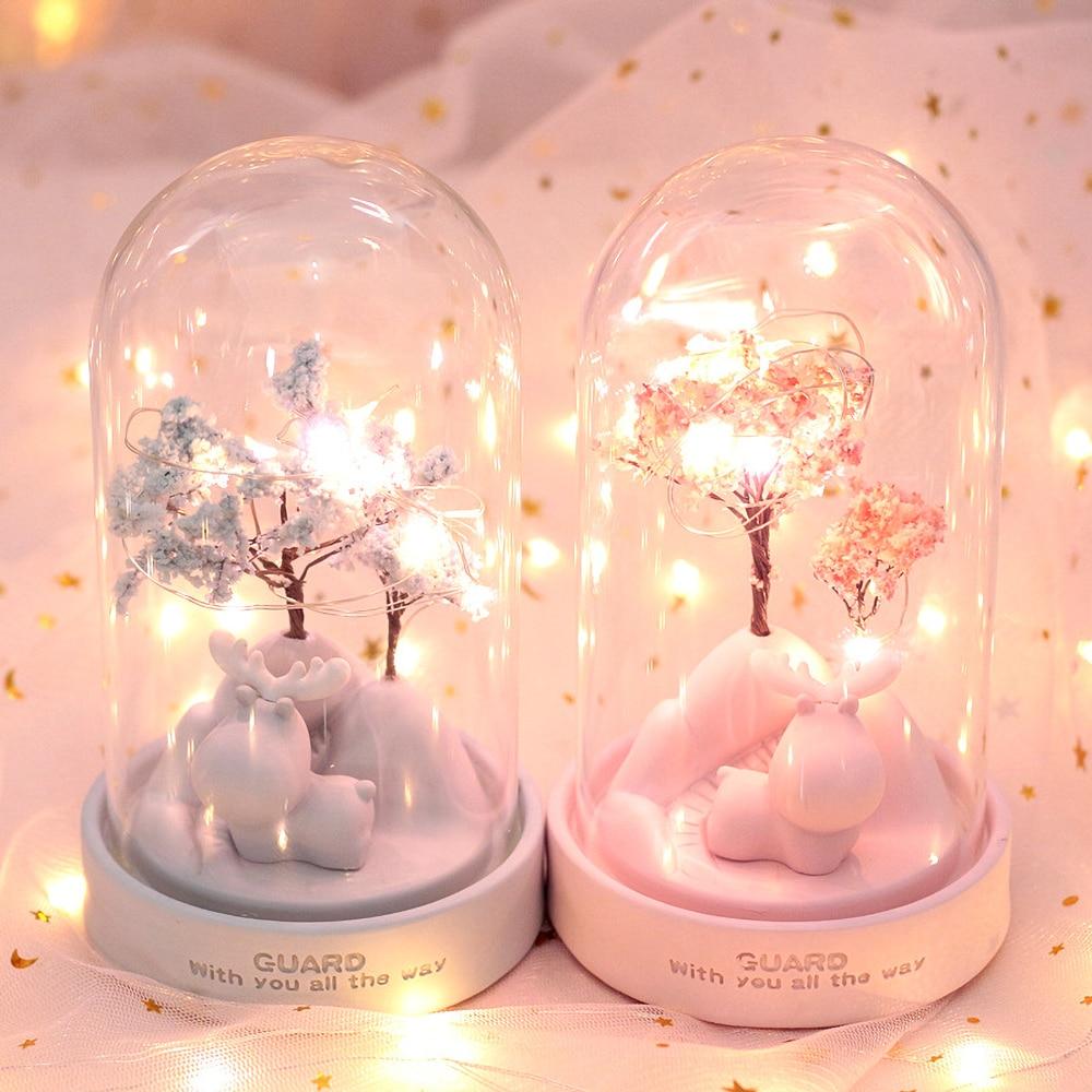 LED Cartoon Resin Night Light Guardian Deer Sakura Flower Star Lamp Romantic Bedroom Decor Boy Girl Kids Birthday Xmas Gift