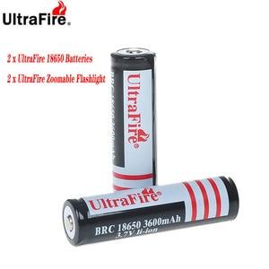 Image 1 - UltraFire 2PCS 18650 3600mAh 3.7V rechargeable protection lithium ion battery protection 18650 lithium battery 2 flashlights