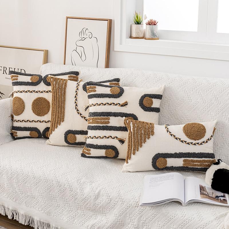 Бохо стиль наволочка 45x4 5 см/30x50 см хлопок наволочка кофе петля Tufted для украшения дома Netural гостиная спальня
