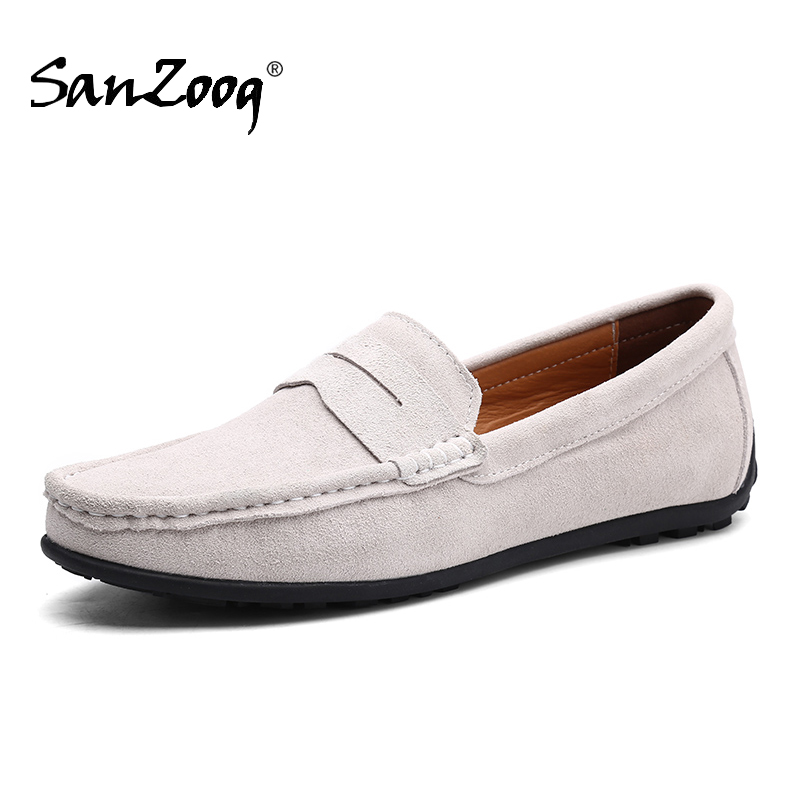 Slip On Mens Loafers Leather Suede Shoes Men Casual Mocasines Hombre Loafer Boat Shoes Lofer Man Driving Summer Loffers White 47