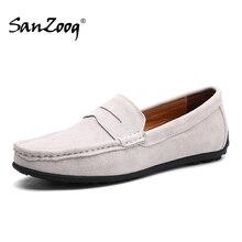 Slip On męskie mokasyny skórzane buty zamszowe męskie Casual Mocasines Hombre próżniak buty łodzi Lofer człowiek jazdy letnie Loffers biały 47