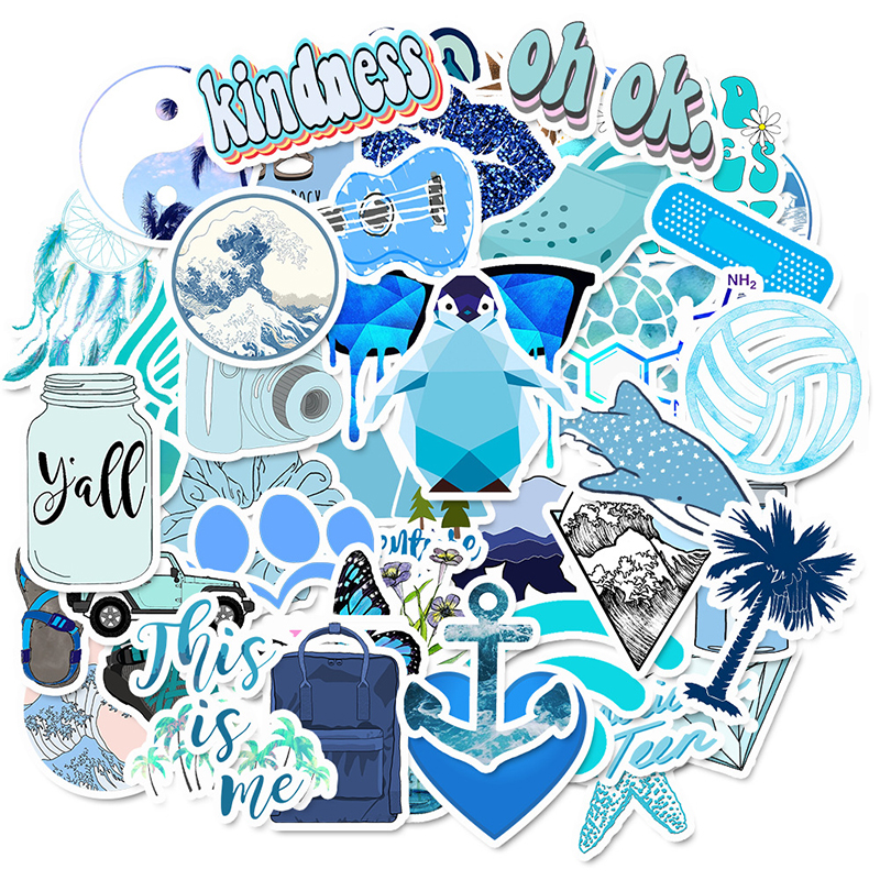 50 PCS Cartoon Blue VSCO Stickers For Chidren Toy Waterproof Sticker To DIY Suitcase Laptop Bicycle Helmet Car Decals F4