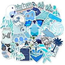 Autocollants VSCO bleu de dessin animé, étiquettes F4, pour enfant, résistant à leau, bricolage même valise, ordinateur portable, casque de voiture, 50 pièces