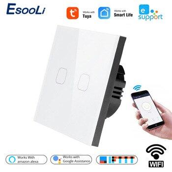 Esooli EU Standard Tuya/Smart Life/ewelink 2 Gang 1 Way WiFi Wall Light Touch Switch for Google Home Amazon Alexa Voice Control 1