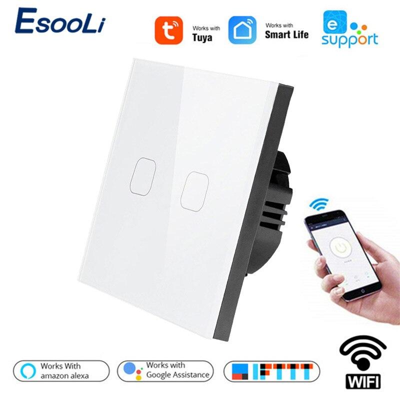 Esooli interruptor de parede wifi tuya/smart life/ewelink 2 gang, interruptor de toque para google casa amazon alexa controle de voz