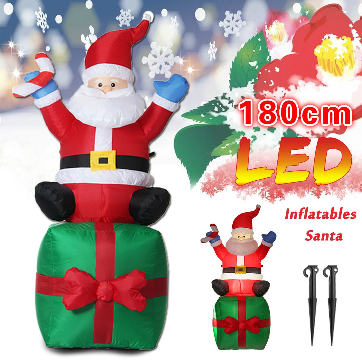 1.8M LED Inflatable Christmas Santa Claus Ornament Christmas Decorations Outdoor for Home navidad New Year Party Decor Xmas Gift