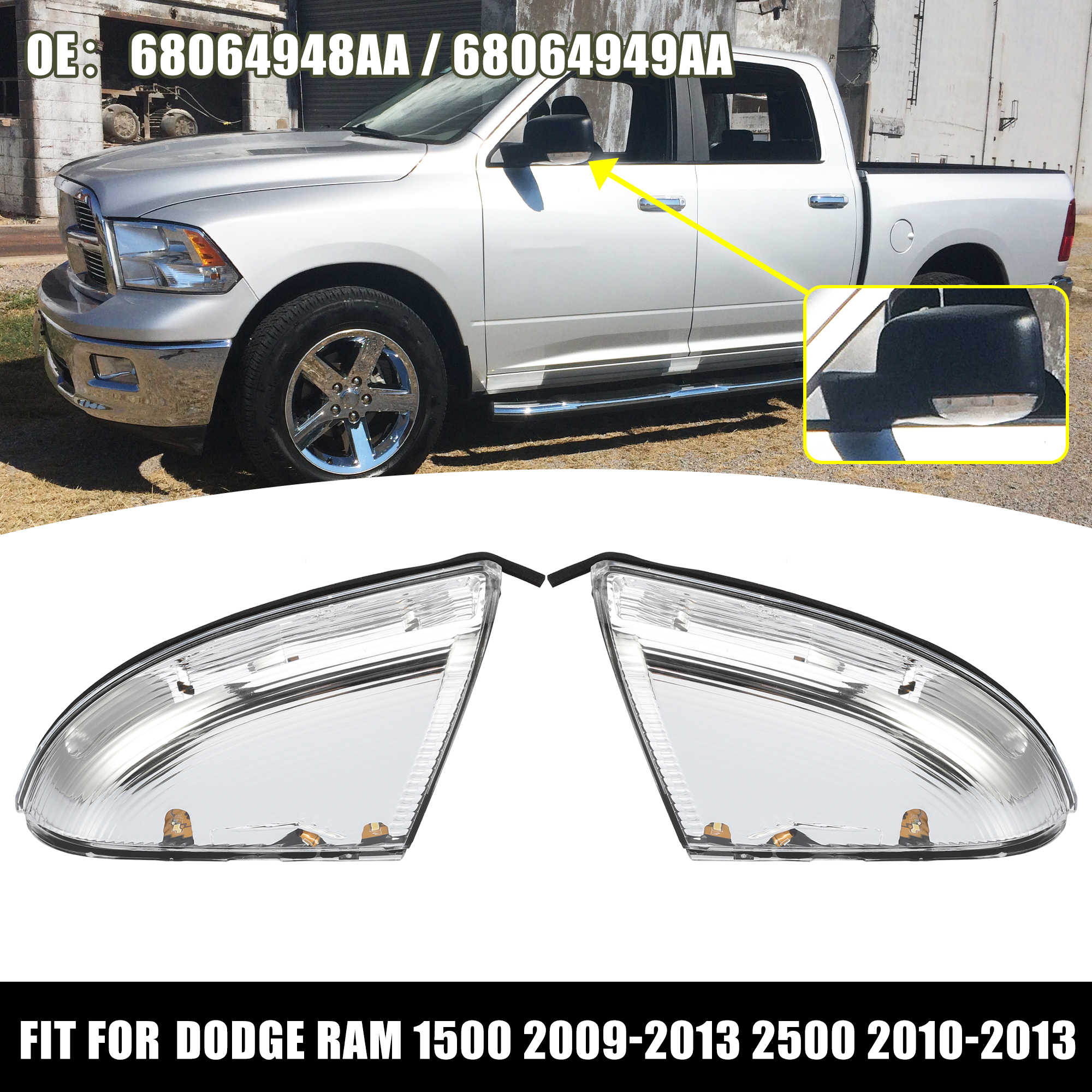X AUTOHAUX 1 Pair Front Driving Left Side Mirror Turn Signal Light Housing for Dodge for Ram 1500 2009-2013 2500 2010-2013 Replaces 68064948AA 68064949AA