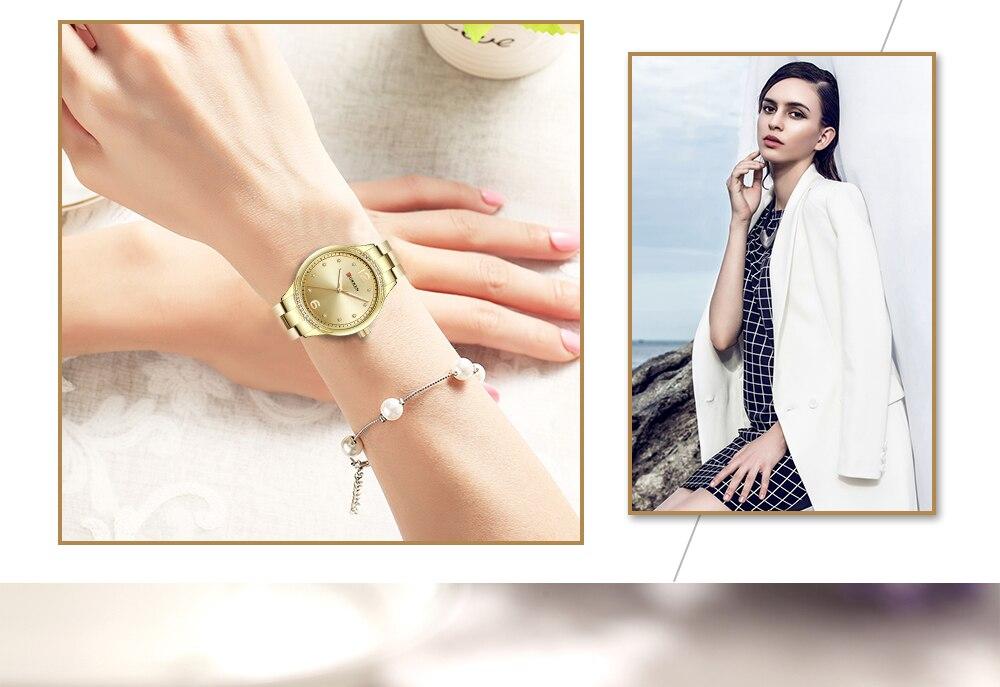 CURREN Модные женские часы роскошные женские часы золотые наручные часы из нержавеющей стали повседневные женские часы Relojes Para Mujer 9003