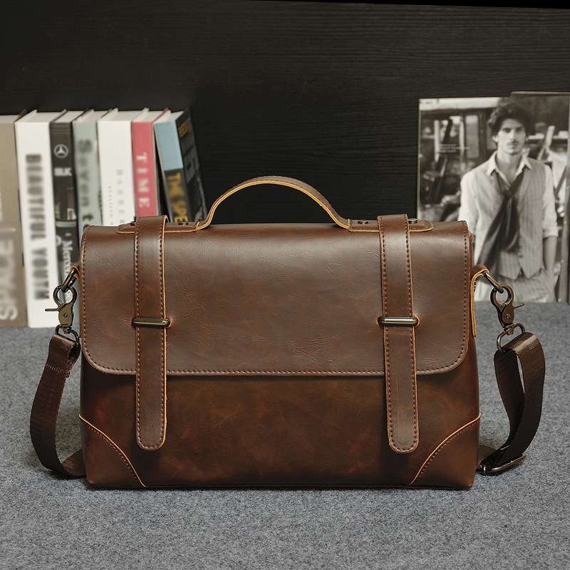 New Men's Fashion Briefcase Business Casual Men's Cross-section Solid Color Pu Messenger Bag Pu Leather Shoulder Crossbody Bag