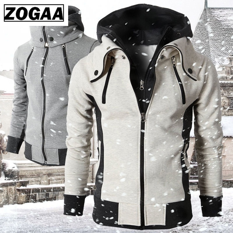 ZOGAA Men Hoodies Spring Autumn Casual Slim Fit Men Sweatshirt Streetwear Fake 2 Pieces Hooded Coat Plus Size Mens Hoodie Jacket