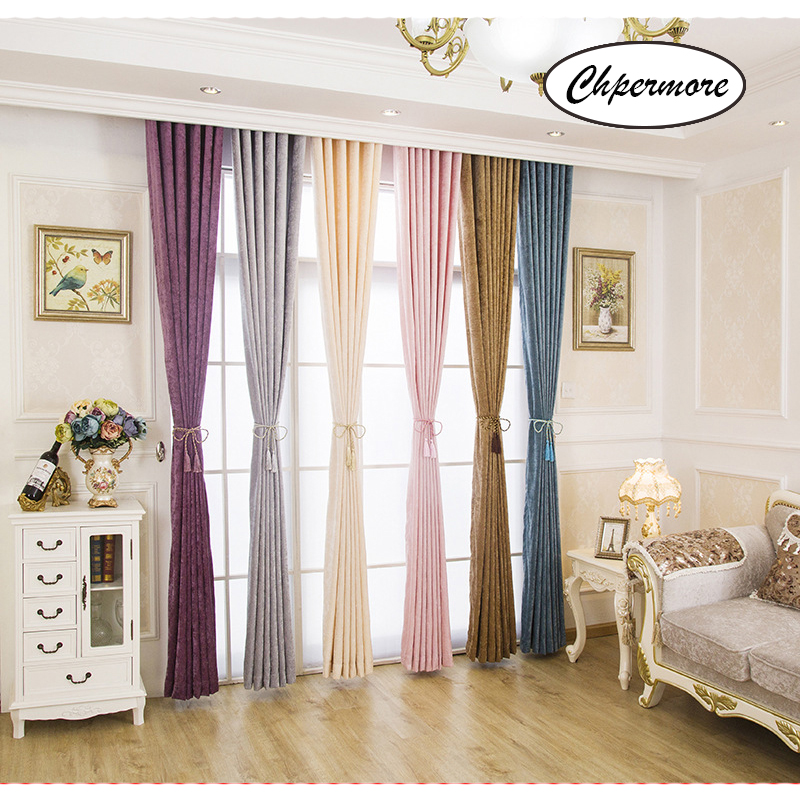 Chpermore Curtains Decoration Bedroom Living-Room Simplicity Double-Side Solid-Color title=