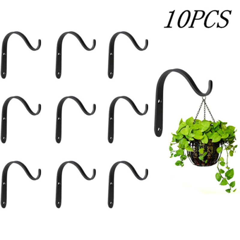 10pcs Black Iron Wall Light Hook Bracket Wind Chimes Garden Hanging Basket Planter Lantern Hanger 71 X 40 X 9mm