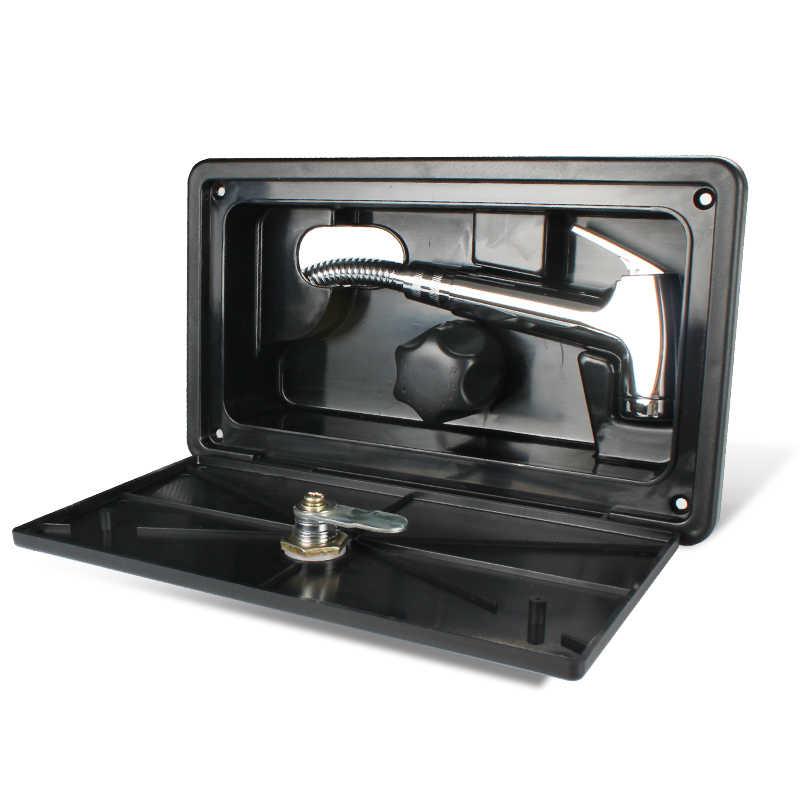 marine camper motorhome rv exterior shower box kit with lock includes shower faucet shower hose shower wand white tytxrv