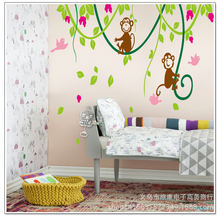 Симпатичная маленькая обезьянка Альпинизм детская спальня фон