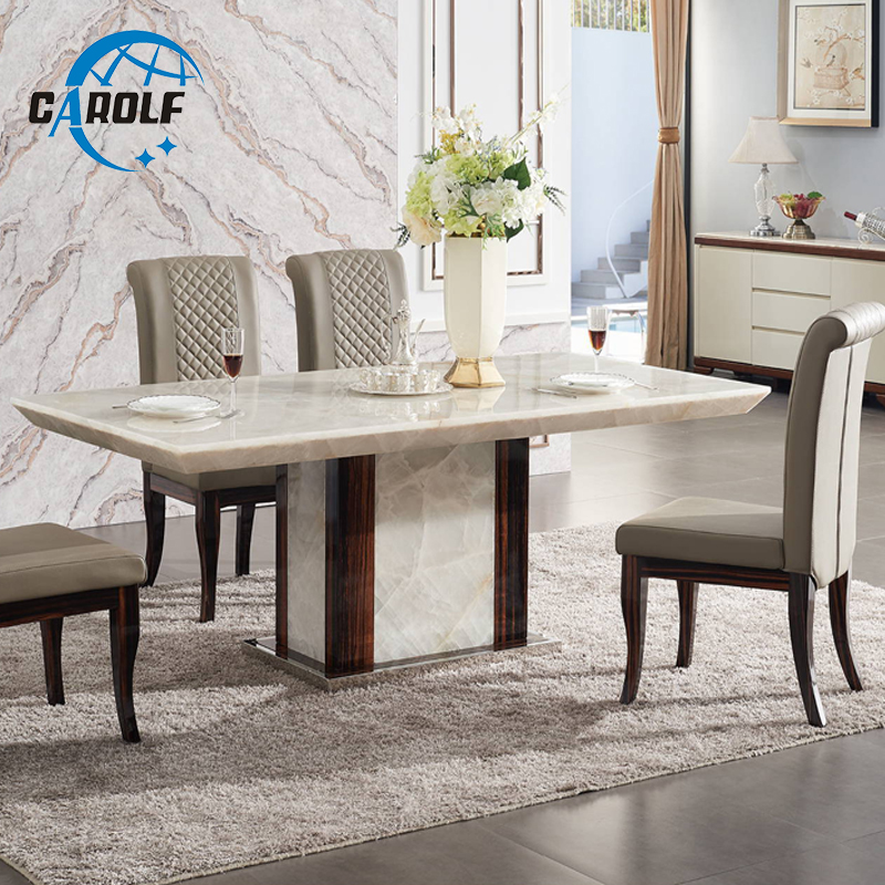 Modern Dining Table Designs Furniture Marble Stone 6 Seater Dining Table Set