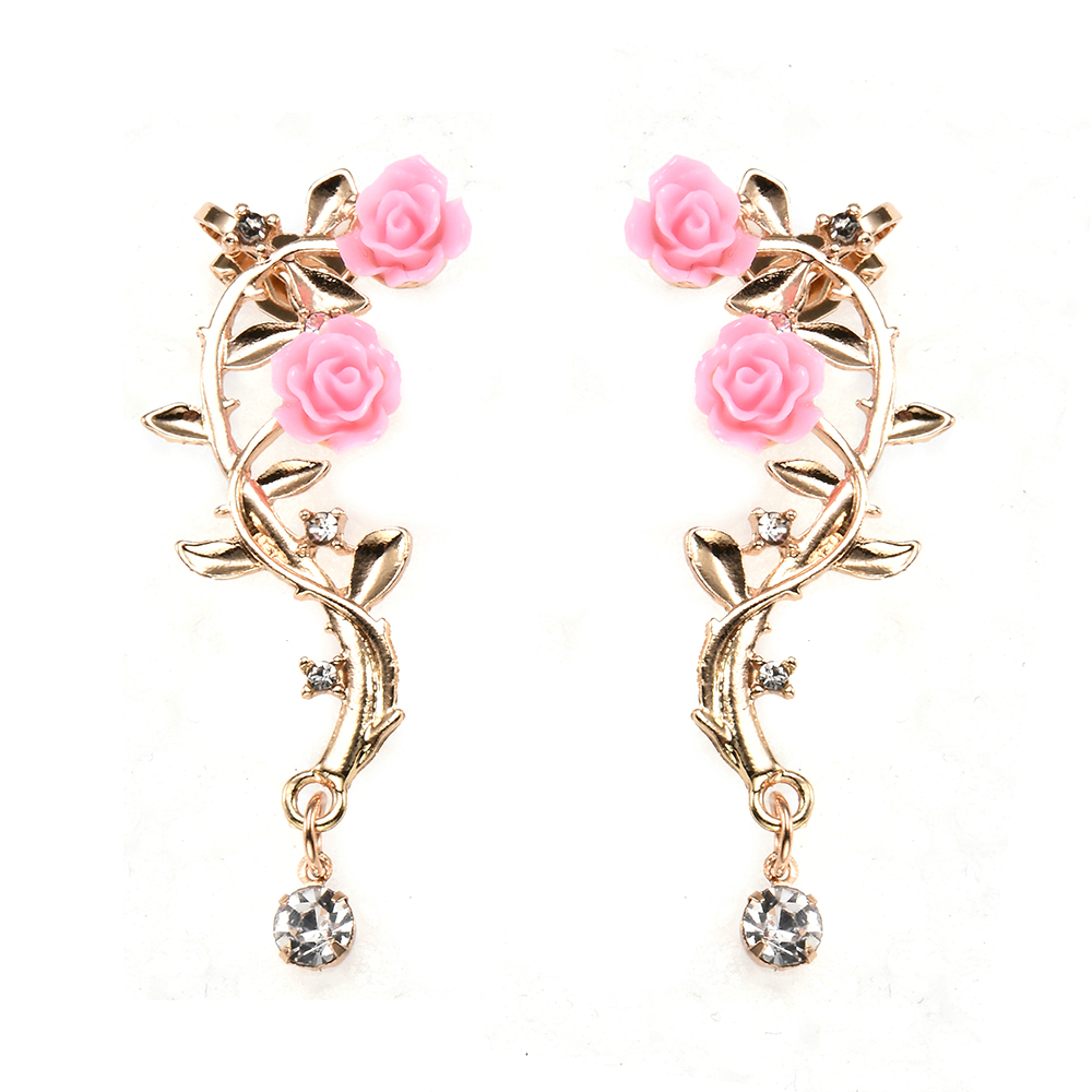 New Fashion Lady Gold Pink Rose Leaf Flower Ear Stud Cuff Earring Women Jewelry Pendientes Princesas Boucle D'oreille Cristal