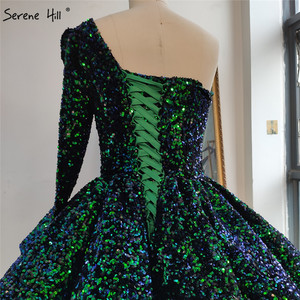 Image 2 - 화이트 섹시 한 어깨 하이 엔드 웨딩 드레스 2020 두바이 스팽글 스파클 럭셔리 신부 가운 HA2290 맞춤 제작